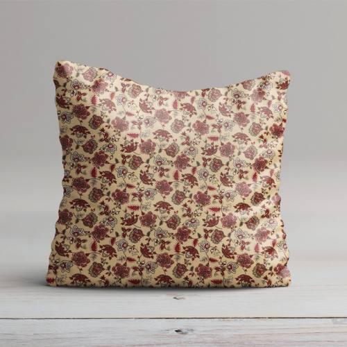 Percale de coton beige imprimé fleuri