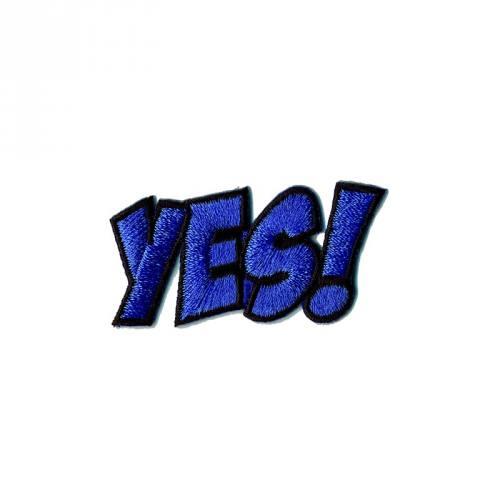 """Écusson brodé """"YES!"""" thermocollant bleu"""