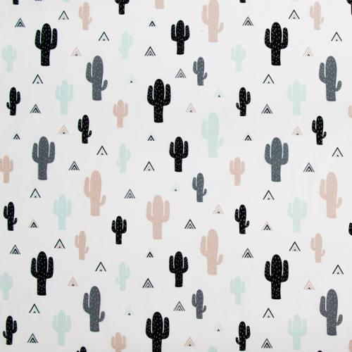 Coton blanc imprimé cactus vert d'eau et taupe