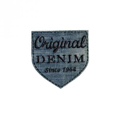 "Écusson brodé ""Original denim"" thermocollant bleu délavé"