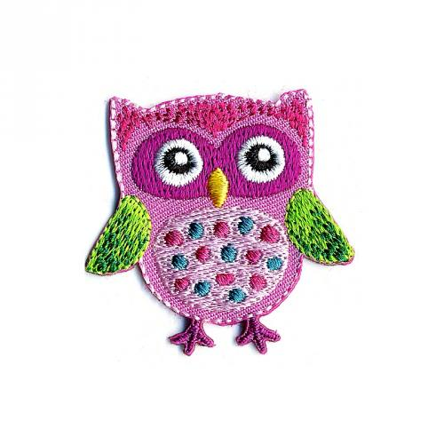 "Écusson brodé ""Hibou"" thermocollant rose à pois"