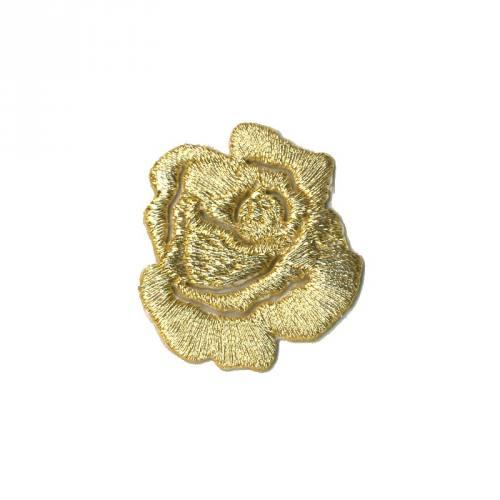 """Écusson brodé """"Petite rose"""" thermocollant doré"""