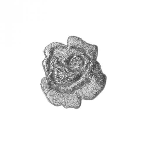 """Écusson brodé """"Petite rose"""" thermocollant argenté"""