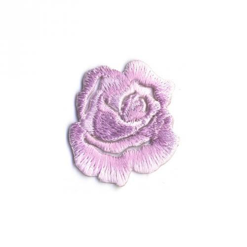 "Écusson brodé ""Petite rose"" thermocollant rose dragée"