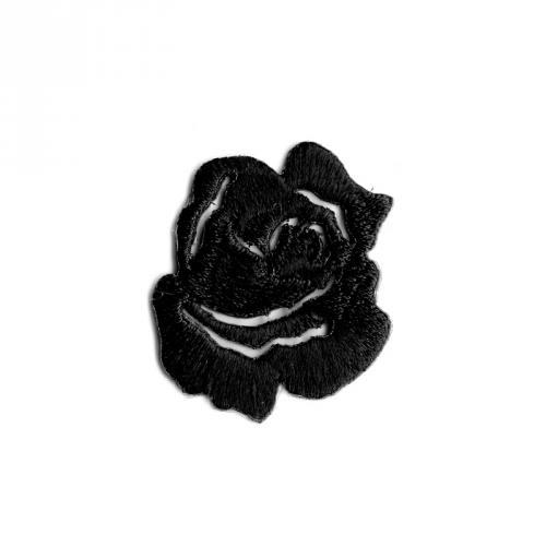 """Écusson brodé """"Petite rose"""" thermocollant noir"""