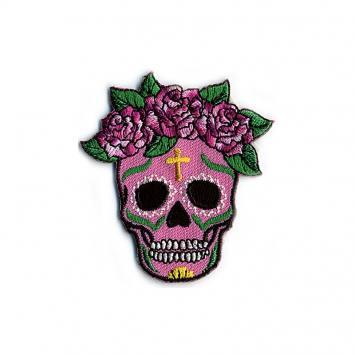 """Écusson brodé """"Tête de mort fleurs"""" thermocollant rose"""
