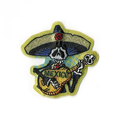"""Écusson """"Squelette mexicain avec guitare"""" thermocollant"""