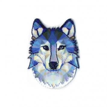 "Écusson ""Loup"" en relief low poly bleu"