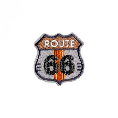 "Écusson brodé ""Route 66"" thermocollant gris"
