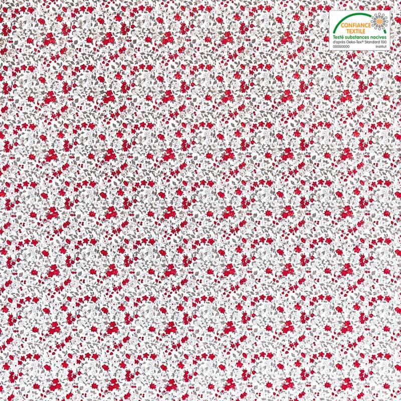 coton cru liberty gris et rouge pas cher tissus price. Black Bedroom Furniture Sets. Home Design Ideas