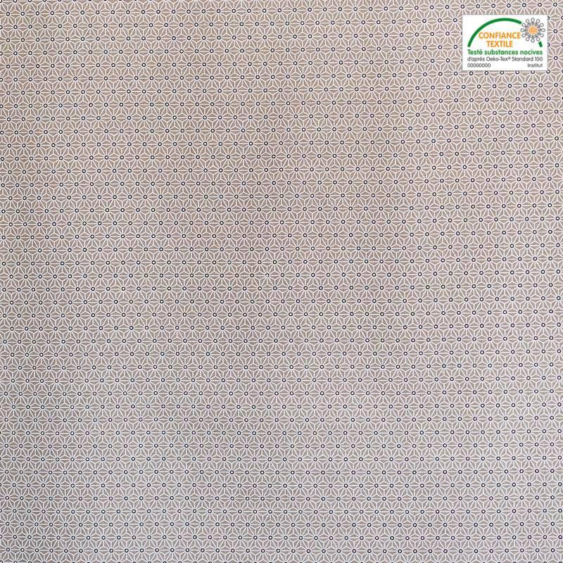 Coton taupe petit motif asanoha blanc