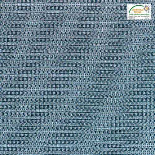 Coton bleu pétrole petit motif asanoha blanc