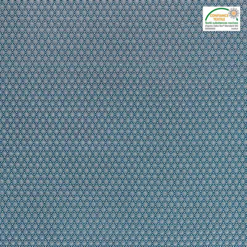 coton bleu p trole petit motif asanoha blanc pas cher. Black Bedroom Furniture Sets. Home Design Ideas