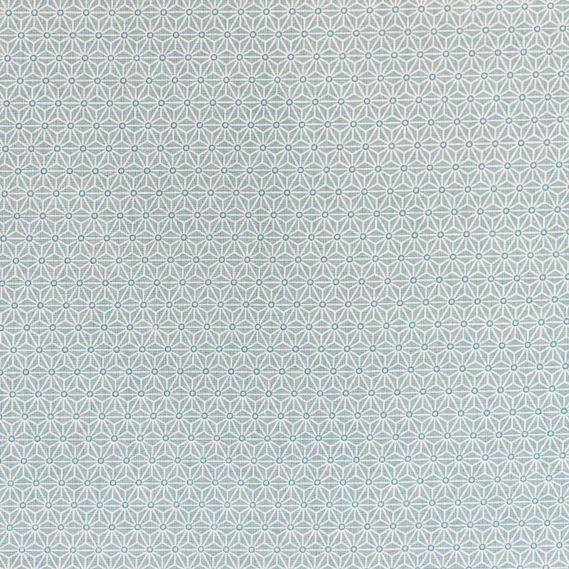 Coton vert d'eau petit motif asanoha blanc