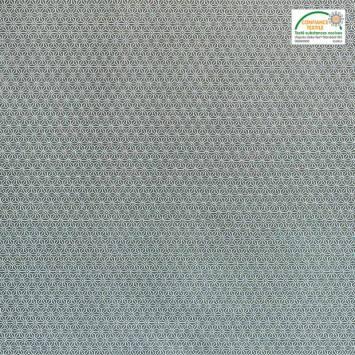 Coton kaki petit motif asanoha blanc