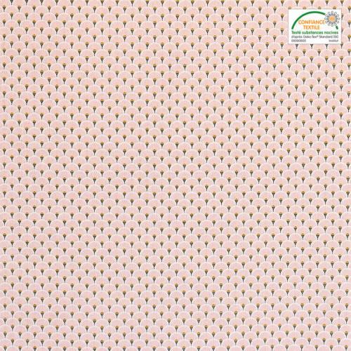 Coton imprimé éventails roses et or