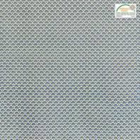 Coton imprimé éventails bleu pétrole et or
