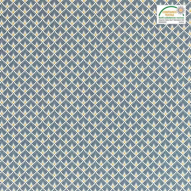 Coton imprimé écailles bleu pétrole et or
