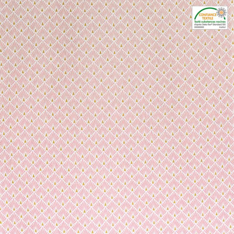 Coton imprimé écailles roses et or