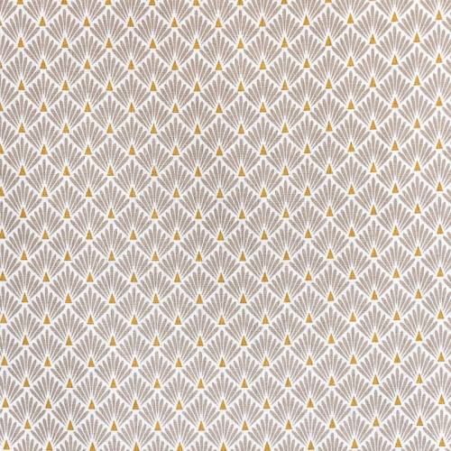 Coton imprimé écailles beiges et or