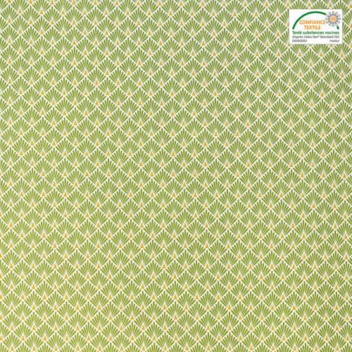Coton imprimé écailles vertes et or