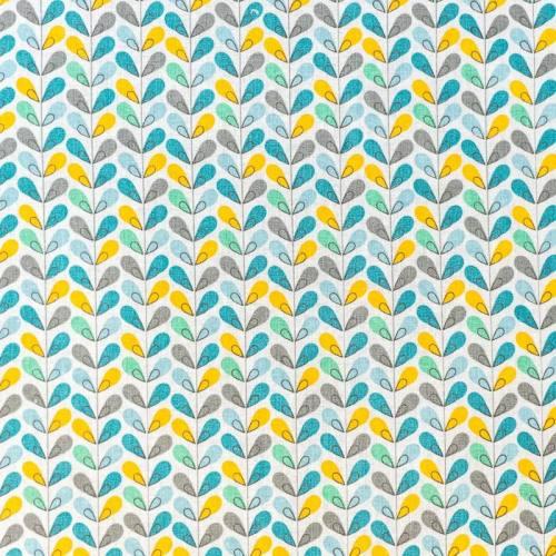 Coton blanc imprimé feuille grise, bleue et jaune