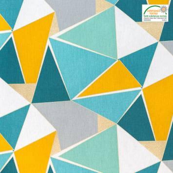Toile coton motif graphique lurex doré bleu et jaune