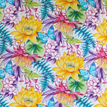 Toile coton impression numérique fleur et papillon aquarelle multicolore