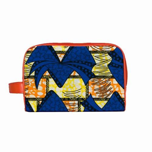 Wax - Tissu africain jaune et orange motif bleu 55