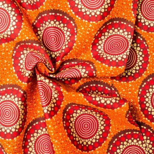 Wax - Tissu africain orange motif rond pailleté 52