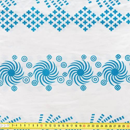 Wax - Tissu africain blanc motif bleu brillant 56