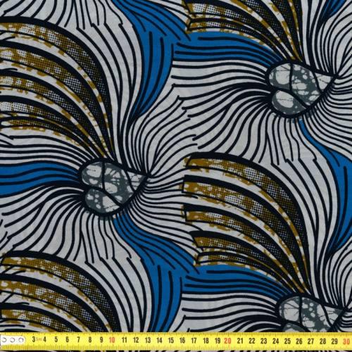 Wax - Tissu africain motif bleu et blanc 61
