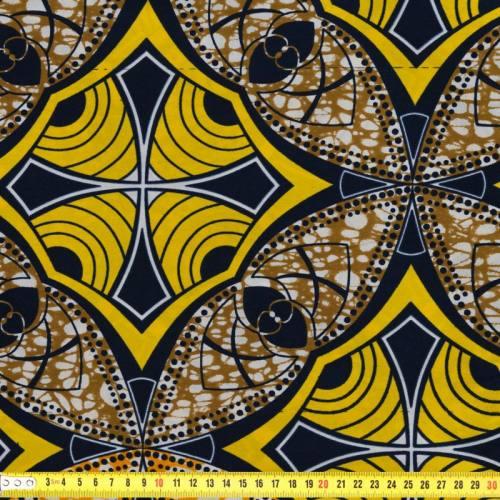 Wax - Tissu africain motif jaune, orange et bronze 62