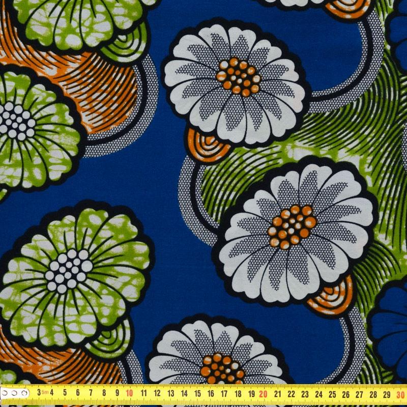 Wax Tissu Africain Motif Fleurs Bleues Et Blanches Pas Cher Tissus Price