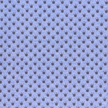 Tissu molleton French Terry chiné bleu clair imprimé couronnes
