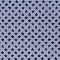 Tissu molleton French Terry chiné bleu clair imprimé étoiles