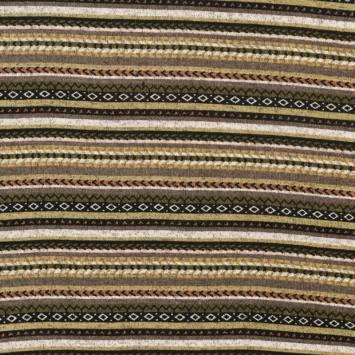 Lainage pour pull motif jacquard multicolore kaki
