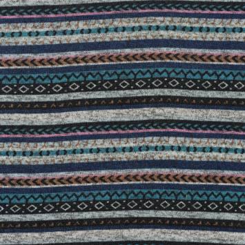 Lainage pour pull motif jacquard multicolore bleu