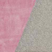 Tissu molleton gris réversible rose