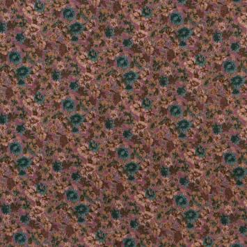 Jersey viscose bordeaux imprimé floral