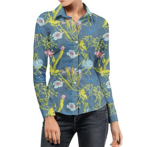 Tissu jean bleu clair motif fleur multicolore