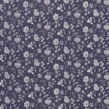Tissu jean bleu foncé motif fleuri