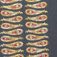 Tissu jean bleu foncé motif cachemire brodé