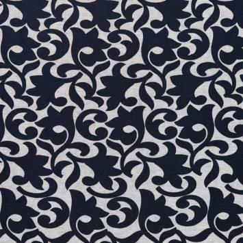 Punto milano gris imprimé arabesques bleu marine