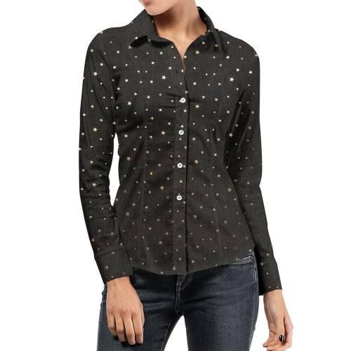 Tissu jean noir motif étoile doré
