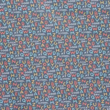 Coton gris alphabet multicolore