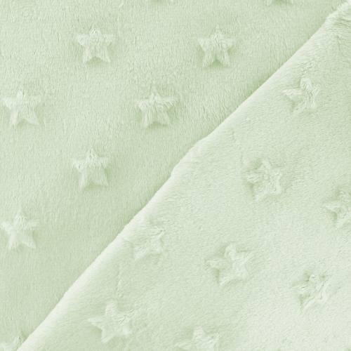 Minky vert d'eau relief étoiles