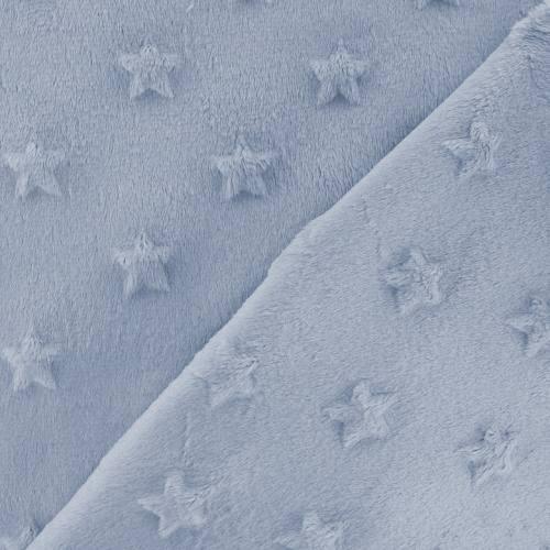 Minky bleu ciel relief étoiles
