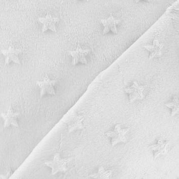 Minky blanc relief étoiles