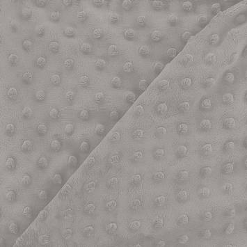 Minky gris perle relief pois